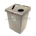 Rubbermaid FG256T06BEIG Two Stream Glutton Recycling Station - 46 Gallon Capacity - Beige in Color