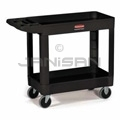 "Rubbermaid 4500 2 Shelf Utility Cart - 39"" L x 17.88"" W x 33.25"" H - 500 lb capacity - Black in Color"